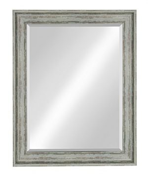 Kate And Laurel McKinley Framed Wall Vanity Beveled Mirror 225x285 Distressed Blue Green 0 300x360