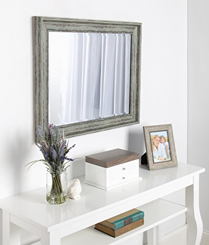 Kate And Laurel McKinley Framed Wall Vanity Beveled Mirror 225x285 Distressed Blue Green 0 4