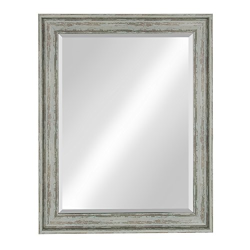 Kate And Laurel McKinley Framed Wall Vanity Beveled Mirror 225x285 Distressed Blue Green 0
