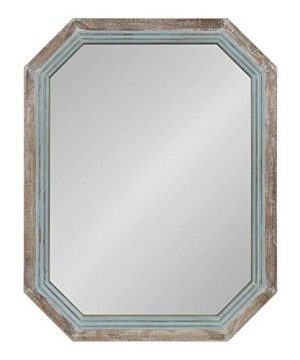 Kate And Laurel Palmer Large Rustic Farmhouse Wooden Octagon Wall Mirror Distressed Two Tone Coastal Blue And Natural 36x28 0 300x360