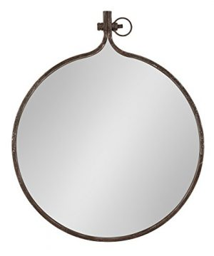 Kate And Laurel Yitro Round Industrial Rustic Metal Framed Wall Mirror 235 Diameter Bronze 0 300x360