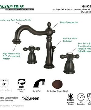 Kingston Brass KB1975AX Heritage Widespread Lavatory Faucet With Metal Cross Handle Oil Rubbed Bronze 0 3 300x360