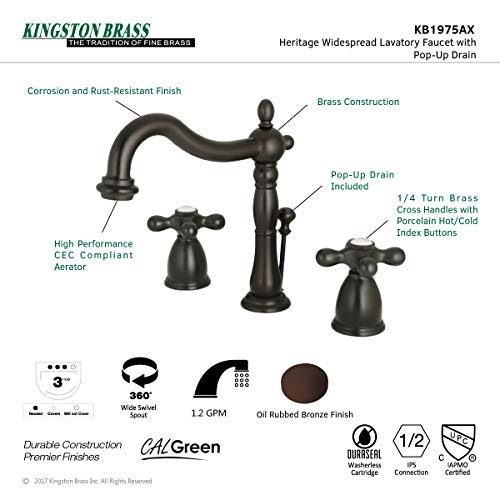 Kingston Brass KB1975AX Heritage Widespread Lavatory Faucet With Metal Cross Handle Oil Rubbed Bronze 0 3
