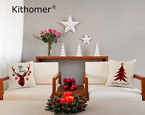 Kithomer Set Of 4 Christmas Pillow Covers Buffalo Plaid Farmhouse Decorative Cotton Linen Throw Pillow Cases 18 X 18 Inch Christmas Home Decoration 0 1