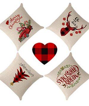 Kithomer Set Of 4 Christmas Pillow Covers Buffalo Plaid Farmhouse Decorative Cotton Linen Throw Pillow Cases 18 X 18 Inch Christmas Home Decoration 0 3 300x360