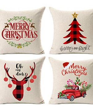 Kithomer Set Of 4 Christmas Pillow Covers Buffalo Plaid Farmhouse Decorative Cotton Linen Throw Pillow Cases 18 X 18 Inch Christmas Home Decoration 0 300x360