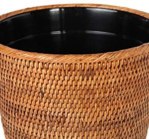 Kouboo La Jolla Rattan Plastic Insert Honey Brown Waste Basket 0 0 300x281
