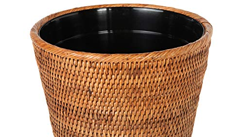 Kouboo La Jolla Rattan Plastic Insert Honey Brown Waste Basket 0 0