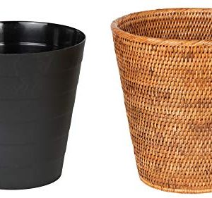 Kouboo La Jolla Rattan Plastic Insert Honey Brown Waste Basket 0 1 300x281