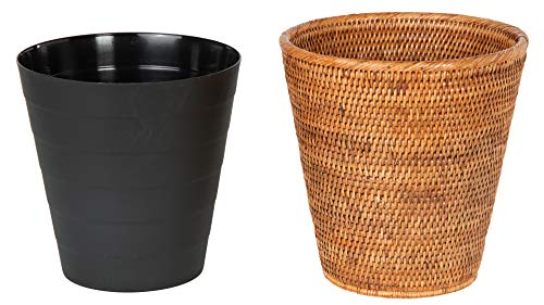 Kouboo La Jolla Rattan Plastic Insert Honey Brown Waste Basket 0 1