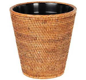 Kouboo La Jolla Rattan Plastic Insert Honey Brown Waste Basket 0 300x281