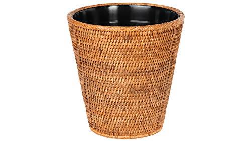 Kouboo La Jolla Rattan Plastic Insert Honey Brown Waste Basket 0