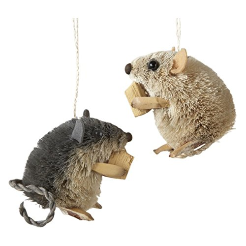 Kurt Adler 25 Inch Buri Sitting Mouse With Cheese Christmas Ornaments 2 Assorted 0