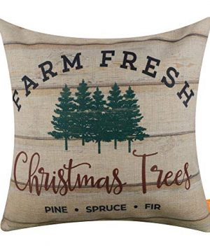 LINKWELL Throw Pillow Cover Farmhouse Merry Christmas Xmas Day Season Seasonal Gifts Burlap Decorative Cushion Cover 18x18 Inches Farm Fresh Christmas Tree CC1541 0 300x360