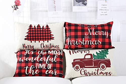 Lanpn Christmas 12x20 Throw Pillow Covers Decorative Outdoor Farmhouse Buffalo Plaid Plad Merry Christmas Xmas Lumbar Pillow Shams Cases Slipcovers Cover Set Of 4 Couch Sofa 0 2