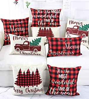 Lanpn Christmas 12x20 Throw Pillow Covers Decorative Outdoor Farmhouse Buffalo Plaid Plad Merry Christmas Xmas Lumbar Pillow Shams Cases Slipcovers Cover Set Of 4 Couch Sofa 0 3 300x333