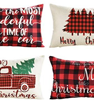 Lanpn Christmas 12x20 Throw Pillow Covers Decorative Outdoor Farmhouse Buffalo Plaid Plad Merry Christmas Xmas Lumbar Pillow Shams Cases Slipcovers Cover Set Of 4 Couch Sofa 0 300x333