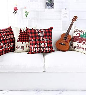 Lanpn Christmas 16x16 Throw Pillow Covers Decorative Outdoor Farmhouse Buffalo Plaid Plad Merry Christmas Xmas Pillow Shams Cases Slipcovers Cover Set Of 4 Couch Sofa 0 0 300x333