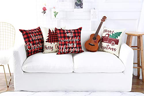 Lanpn Christmas 16x16 Throw Pillow Covers Decorative Outdoor Farmhouse Buffalo Plaid Plad Merry Christmas Xmas Pillow Shams Cases Slipcovers Cover Set Of 4 Couch Sofa 0 0