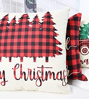 Lanpn Christmas 16x16 Throw Pillow Covers Decorative Outdoor Farmhouse Buffalo Plaid Plad Merry Christmas Xmas Pillow Shams Cases Slipcovers Cover Set Of 4 Couch Sofa 0 1 300x333