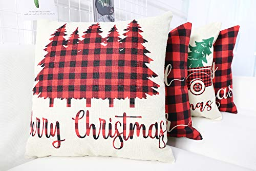 Lanpn Christmas 16x16 Throw Pillow Covers Decorative Outdoor Farmhouse Buffalo Plaid Plad Merry Christmas Xmas Pillow Shams Cases Slipcovers Cover Set Of 4 Couch Sofa 0 1