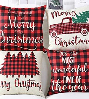 Lanpn Christmas 16x16 Throw Pillow Covers Decorative Outdoor Farmhouse Buffalo Plaid Plad Merry Christmas Xmas Pillow Shams Cases Slipcovers Cover Set Of 4 Couch Sofa 0 2 300x333