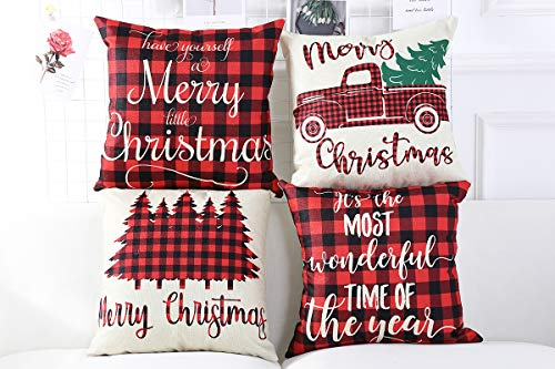 Lanpn Christmas 16x16 Throw Pillow Covers Decorative Outdoor Farmhouse Buffalo Plaid Plad Merry Christmas Xmas Pillow Shams Cases Slipcovers Cover Set Of 4 Couch Sofa 0 2