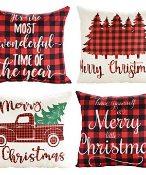 Lanpn Christmas 16x16 Throw Pillow Covers Decorative Outdoor Farmhouse Buffalo Plaid Plad Merry Christmas Xmas Pillow Shams Cases Slipcovers Cover Set Of 4 Couch Sofa 0 300x360