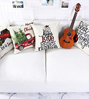 Lanpn Christmas 16x16 Throw Pillow Covers Decorative Outdoor Farmhouse Merry Christmas Xmas Pillow Shams Cases Slipcovers Cover Set Of 4 Couch Sofa 0 0 300x333