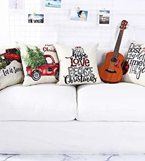 Lanpn Christmas 16x16 Throw Pillow Covers Decorative Outdoor Farmhouse Merry Christmas Xmas Pillow Shams Cases Slipcovers Cover Set Of 4 Couch Sofa 0 1 300x333