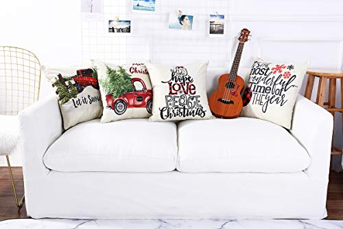 Lanpn Christmas 16x16 Throw Pillow Covers Decorative Outdoor Farmhouse Merry Christmas Xmas Pillow Shams Cases Slipcovers Cover Set Of 4 Couch Sofa 0 1