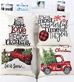 Lanpn Christmas 16x16 Throw Pillow Covers Decorative Outdoor Farmhouse Merry Christmas Xmas Pillow Shams Cases Slipcovers Cover Set Of 4 Couch Sofa 0 2 300x333