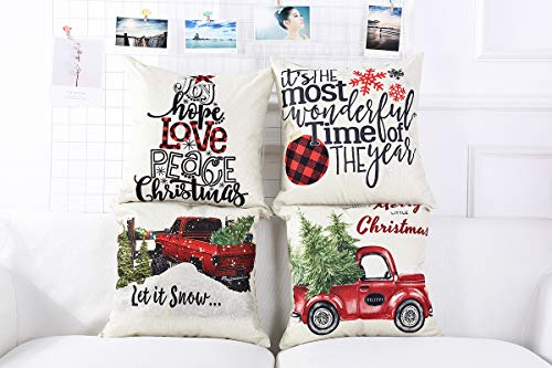 Lanpn Christmas 16x16 Throw Pillow Covers Decorative Outdoor Farmhouse Merry Christmas Xmas Pillow Shams Cases Slipcovers Cover Set Of 4 Couch Sofa 0 2