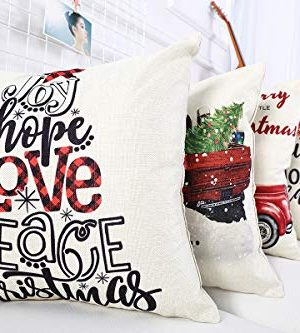 Lanpn Christmas 16x16 Throw Pillow Covers Decorative Outdoor Farmhouse Merry Christmas Xmas Pillow Shams Cases Slipcovers Cover Set Of 4 Couch Sofa 0 3 300x333