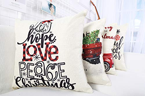 Lanpn Christmas 16x16 Throw Pillow Covers Decorative Outdoor Farmhouse Merry Christmas Xmas Pillow Shams Cases Slipcovers Cover Set Of 4 Couch Sofa 0 3