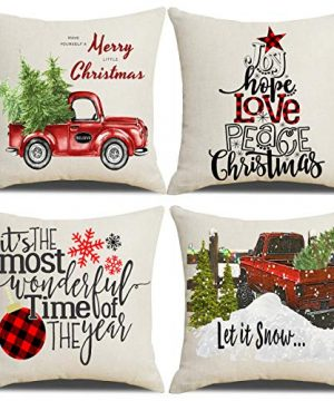 Lanpn Christmas 16x16 Throw Pillow Covers Decorative Outdoor Farmhouse Merry Christmas Xmas Pillow Shams Cases Slipcovers Cover Set Of 4 Couch Sofa 0 300x360