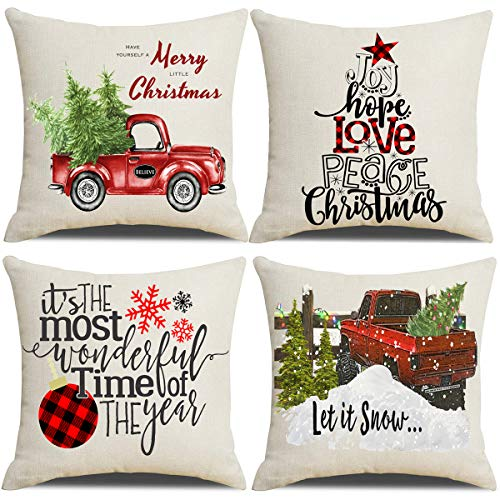 Lanpn Christmas 16x16 Throw Pillow Covers Decorative Outdoor Farmhouse Merry Christmas Xmas Pillow Shams Cases Slipcovers Cover Set Of 4 Couch Sofa 0