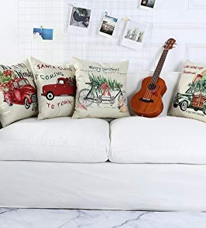 Lanpn Christmas 16x16 Throw Pillow Covers Decorative Outdoor Farmhouse Merry Christmas Xmas Red Truck Pillow Shams Cases Slipcovers Cover Set Of 4 Couch Sofa 0 0 300x333