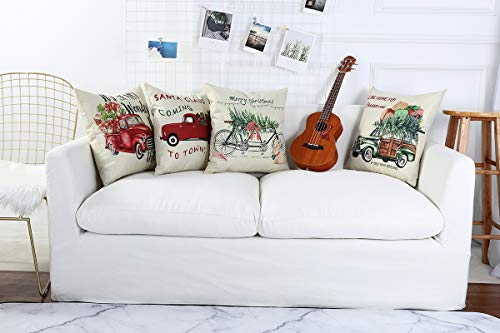Lanpn Christmas 16x16 Throw Pillow Covers Decorative Outdoor Farmhouse Merry Christmas Xmas Red Truck Pillow Shams Cases Slipcovers Cover Set Of 4 Couch Sofa 0 0
