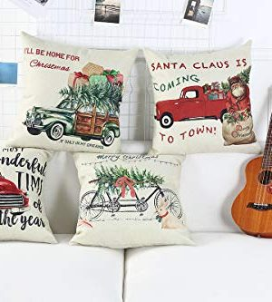 Lanpn Christmas 16x16 Throw Pillow Covers Decorative Outdoor Farmhouse Merry Christmas Xmas Red Truck Pillow Shams Cases Slipcovers Cover Set Of 4 Couch Sofa 0 1 300x333