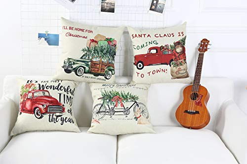 Lanpn Christmas 16x16 Throw Pillow Covers Decorative Outdoor Farmhouse Merry Christmas Xmas Red Truck Pillow Shams Cases Slipcovers Cover Set Of 4 Couch Sofa 0 1