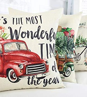 Lanpn Christmas 16x16 Throw Pillow Covers Decorative Outdoor Farmhouse Merry Christmas Xmas Red Truck Pillow Shams Cases Slipcovers Cover Set Of 4 Couch Sofa 0 2 300x333