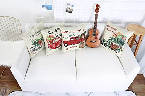 Lanpn Christmas 16x16 Throw Pillow Covers Decorative Outdoor Farmhouse Merry Christmas Xmas Red Truck Pillow Shams Cases Slipcovers Cover Set Of 4 Couch Sofa 0 3