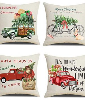 Lanpn Christmas 16x16 Throw Pillow Covers Decorative Outdoor Farmhouse Merry Christmas Xmas Red Truck Pillow Shams Cases Slipcovers Cover Set Of 4 Couch Sofa 0 300x360