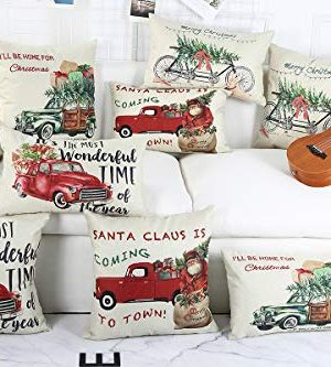 Lanpn Christmas 16x16 Throw Pillow Covers Decorative Outdoor Farmhouse Merry Christmas Xmas Red Truck Pillow Shams Cases Slipcovers Cover Set Of 4 Couch Sofa 0 4 300x333