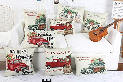 Lanpn Christmas 16x16 Throw Pillow Covers Decorative Outdoor Farmhouse Merry Christmas Xmas Red Truck Pillow Shams Cases Slipcovers Cover Set Of 4 Couch Sofa 0 4