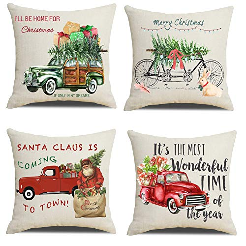 Lanpn Christmas 16x16 Throw Pillow Covers Decorative Outdoor Farmhouse Merry Christmas Xmas Red Truck Pillow Shams Farmhouse Goals