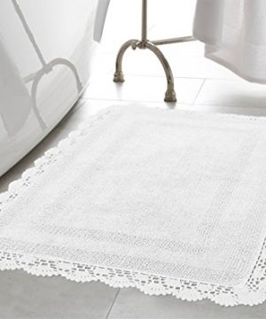 Laura Ashley Crochet Cotton 17x24 In Bath Rug White 0 300x360