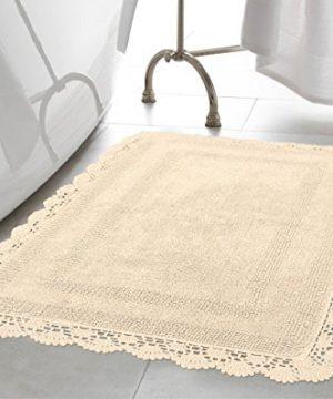 Laura Ashley Crochet Cotton 17x2421x34 In 2 Piece Bath Rug Set Linen 0 300x360