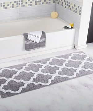 Lavish Home 100 Cotton Trellis Bathroom Mat 24x60 Inches Silver 0 300x360